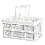 Premier Housewares Folding Storage Basket - White