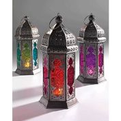 Moroccan Style Glass Lamp Lantern, Coloured Glass and Iron, Fairly Traded, in shades of Pink and Purple