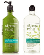 Body Works Aromatherapy Stress Relief Eucalyptus Spearmint 300ml Body Wash & Foam Bath and 190ml Body Lotion Bundle