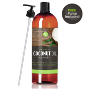 Fractionated Coconut Oil - 470ml - La Lune Naturals 100% Pure Liquid Fractionated Coconut Oil. Pump - Best Aromatherapy Carrier Oil or Base Oil for Essential Oils, Hair & Skin Moisturiser, Massage Oil, Makeup Remover, and Hair Growth