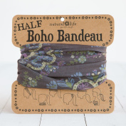 Natural Life Half Boho Bandeau Black Navy Purple
