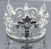 Mini Tiara Crown for Newborn Baby Photo Prop Crystal Flower Girl Crown Silver Saint 4064