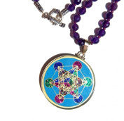 Sacred Geometry Pendant:Metatron's Cube Pendant (turquoise) with amethyst beaded necklace
