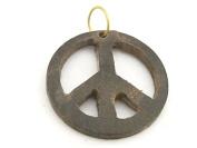 1 Pendant - Brown colour natural wood carved peace symbol pendant - PB091