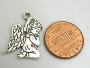 8 charms - Reversible Prayer Angel charms antiqued silver tone - CM106