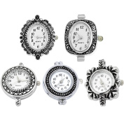 Godagoda Mixed Antique Silver Colour Decorative Pattern Quartz Watches Faces Pack of 5pcs