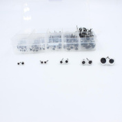 100 Pairs Glass Eyes Kits 4/5/6/7/10mm All in One Box for Needle Felting Bears Dolls Decys Sewing (20 Pairs Per Size)