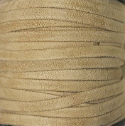 Genuine Suede Leather - 4 Mm Wide X 1 Mm Thick Fold Over (Folded & Pasted) - Various Colours - Packing of 1 Yard, 5 Yards, 10 Yards in Hank and 25 Yards in Spool (5 Yards, Natural