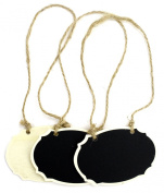 Kel-Toy Hanging Chalkboard Oval Wood Tags, 8.9cm by 6.1cm ,