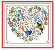 UniversalD® Cross Stitch Kit, Colourful Phoenix Heart 51x46cm DIY Needlework Handmad Embroidery Home Room Decor