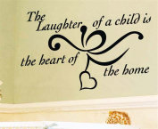 Bling2Bling【The laughter of a child is the heart of the home】Quote Wall Sticker Motto Wall Decal Just Peel & Stick Home Decor