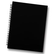Pure Black Sketchbook for Drawing and Mixed Media 22cm x 28cm - Blank Spiral Bound Artist Drawing Pad/Sketch Journal