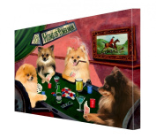 House of Pomeranians Dogs Playing Poker Canvas 11 x 14