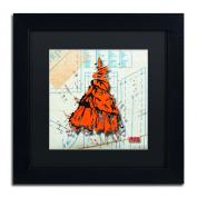 Trademark Fine Art Shoulder Dress Orange and Black Artwork by Roderick Stevens, 28cm by 28cm , Matte Black