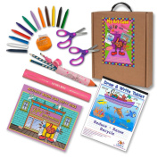 Left-handed Art and Activity Kit (Activity Book, Pencils, Scissors & More) Warm Pink Tones, 23 Pc Set