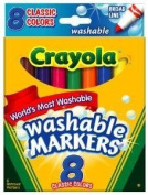 Crayola Broad Point Washable Markers, 8 Markers, Classic Colours (58-7808) Case of 24 Packs