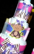 Monkey Three Tier Girl Nappy Cake Baby Shower Centrepiece W/johnson Products By Little Kgs Dreams
