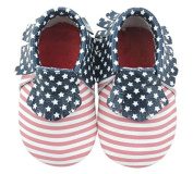 American Flag Patriotic Baby Moccasins - Hand Stitched High Quality Leather Shoe for Infant or Toddler (12cm