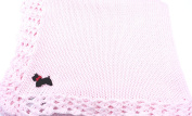 Knitted Crochet Finished Pink Cotton Baby Blanket with Black Dog Applique'