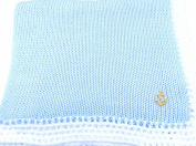 Knitted Crochet Finished Blue Cotton White Trim Baby Blanket with Applique'.