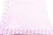 Knitted Crochet Finished Pink Cotton Baby Blanket with White Anchor Applique'