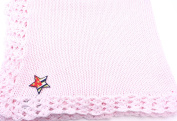 Knitted Crochet Finished Pink Cotton Baby Blanket with Star Flag Applique'