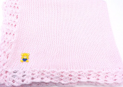Knitted Crochet Finished Pink Cotton Baby Blanket with Yellow Bear Applique'