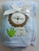 Snugly Baby Embroidered Girl Blanket Blue Lion