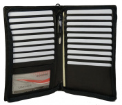 Genuine Leather Zippered Credit Card Wallet Organiser for Womens