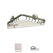 Rohl BSK17STN ROHL WALL MOUNTED SMALL CORNER BASKET 8^ WIDE X 1 5/16^ DEEP X 5^ FROM CORNER TO FRONT EDGE IN SATIN NICKEL SMALL CORNER BASKET S.NK