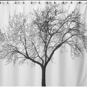 No More Mildew Shower Curtain Liner Or Curtain, Mildew-Free Water-Repellent Waterproof 100% FABRIC - No PVC - No Vinyl Shower Curtain, 180cm by 180cm , Shower Curtain Rings Included, Tree Design