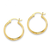 Small 14k Yellow Gold Tube Hoop Earrings with Flat Interior (2.75mm Tube), 18mm