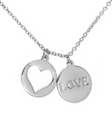 Love and Heart Cutout Double Disc Pendant Necklace .925 Sterling Silver 16