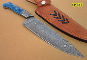 RK-CP-315, Handmade Damascus Steel Chef Knife - Solid Coloured Bone Handle with Damascus Steel Bolsters