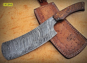 RK- CP-285, Damascus Steel 30cm Cleaver style Knife - Solid Rose Wood Handle