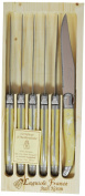 Neron Coutellerie Laguiole 6 Piece Steak Knife Set with Plates and Pale Horn Handle with Wooden Box by Jean Neron