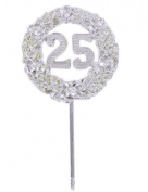 12 Pieces Silver 25th Anniversary Plastic Picks Decorations 6.4cm Diameter 30cm Long