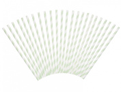 Baby Green Candy Stripe Straws - Pack of 24