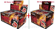 Little Hotties Hand Warmers (40 Pairs) + Toe Warmers (30 Pairs) New