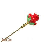 Elegance Glass Lampwork Red Rose Gold Hat Pin 15cm