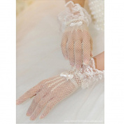 CIMC LLC Women's Wrist Length Spandex and Lace Fishnet Gloves,White