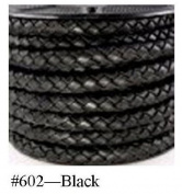 "Black Braided Bolo Cord, 5MM (3/16"") x 2M"