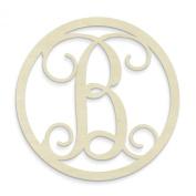 UNFINISHEDWOODCO Single Letter Circle Monogram-B, 48cm , Unfinished