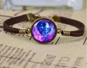 Galaxy Glass Cabochon Charm Bracelet, Purple and Blue Universe Charm with Brown Rope Bracelet