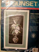 Calla Lilies Counted Cross Stitch -- Stitched on Black Aida -- 20cm x 41cm Frame Size UnMatted