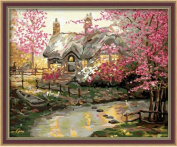 Diy oil painting, paint by number kit- My dream house 16*50cm .