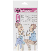 Art Impressions BFF's Cling Rubber Stamp, 18cm by 10cm , Coffee