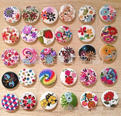 """Nicedeco Pack of 100pcs Designed Round Shaped Painted 2 Hole Wooden Buttons (Diameter 0.59""""(15mm*15mm) Colour Random Shipments) Super Fantastic"""