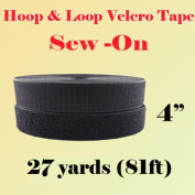 10cm (Inch) Width Black or White Sew on Hook & Loop - Premium Grade Non-adhesive Sew-on Style Sold Includes Hook and Loop Both Strips Interlocking Tape Sold By 5, 10, 27 Yards