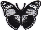 Iron on Patch Embroidered Patches Application Butterfly Black and White Retro Beautiful